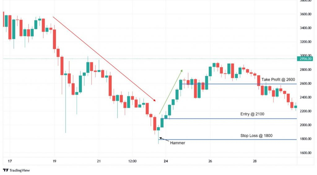 The Take Profit, Stop Loss, and entry point for a hammer candle